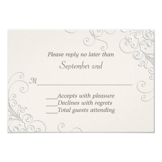 Chic Ivory and White Classic Wedding RSVP Card