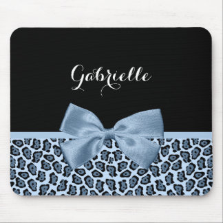 Chic Jaguar Print Light Blue Bow With Name Mouse Mat