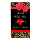 Chic Jaguar Print Wedding Wine Labels