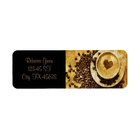 Chic Java cappuccino Coffee Beans Coffee Lover Return Address Label