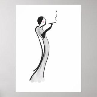 Chic Jazz Age Lady Illustration Poster Print
