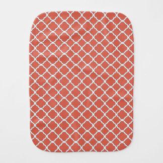 Chic Jelly Bean Orange Quatrefoil Maroccan Pattern Baby Burp Cloths