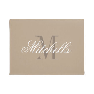 Chic khaki beige and brown name monogram door mat