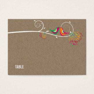 Chic Kissing Summer Birds Wedding Guest Place Card