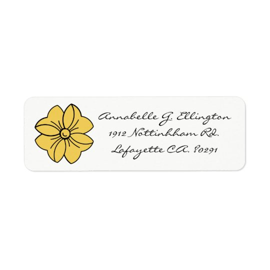 CHIC LABEL_PRIMROSE YELLOW BOW ON WHITE RETURN ADDRESS LABEL