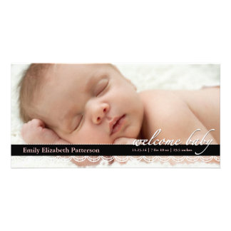 Chic Lace Baby Birth Announcement | Pink Photocard Customised Photo Card