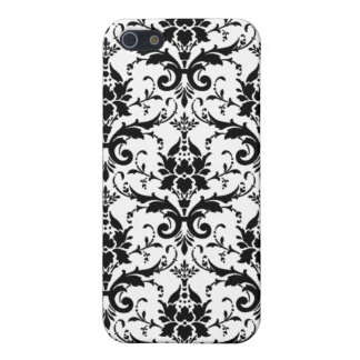 Chic Lace Black White Damask Pattern iPhone 5 Cases