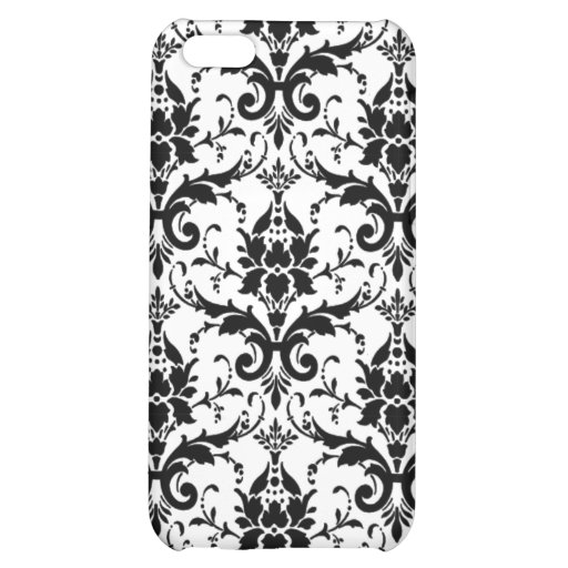 Chic Lace Black White Damask Pattern Case For iPhone 5C