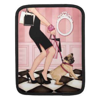 Chic lady walking her pug iPad sleeve