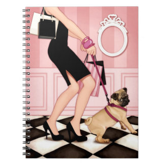 Chic lady walking her pug notebooks