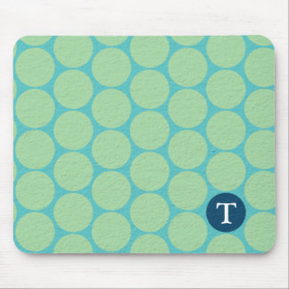 Chic Large Teal Green Polka Dots Mouse Pads