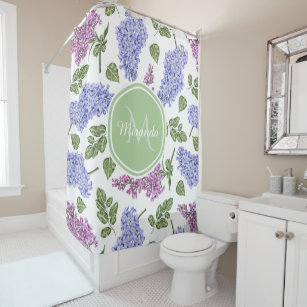 Chic Lavender Lilac Floral Pastel Green Monogram Shower Curtain