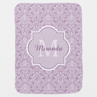 Chic Lavender Purple Damask Monogram With Name Pramblanket