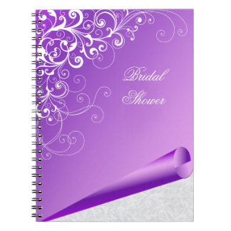 Chic Lavender & White Flourish Custom Notebook