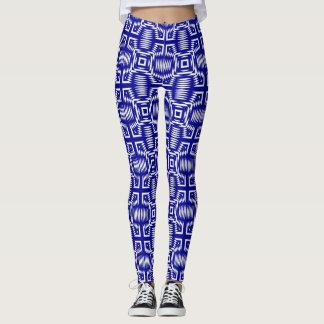 CHIC LEGGINGS_BLUE/WHITE GEOMETRIC PATTERN LEGGINGS