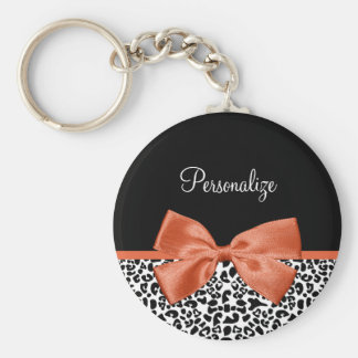 Chic Leopard Print Burnt Orange Bow With Name Basic Round Button Key Ring
