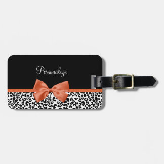 Chic Leopard Print Burnt Orange Bow With Name Tags For Bags