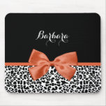 Chic Leopard Print Burnt Orange Bow With Name Mouse Pad