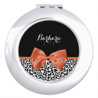 Chic Leopard Print Burnt Orange Bow With Name Vanity Mirror