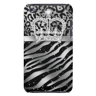 Chic Leopard Zebra iPod Barely There Black Crown iPod Case-Mate Cases