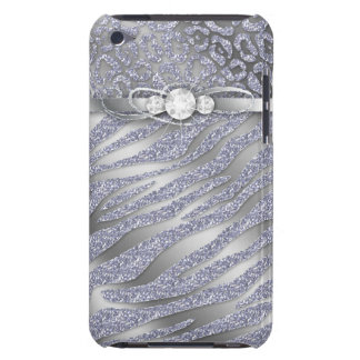 Chic Leopard Zebra iPod Barely There Cover Silver