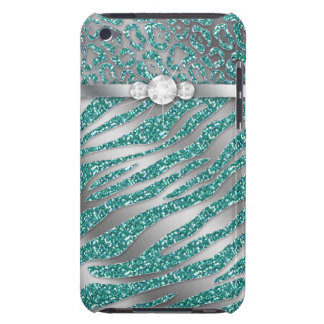 Chic Leopard Zebra iPod Barely There Cover Teal