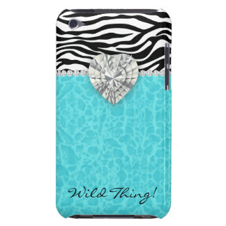 Chic Leopard Zebra iPod Barely There Heart Blue iPod Touch Case