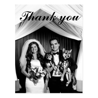 Chic Lettered Wedding Thank You | Black and White Postcard