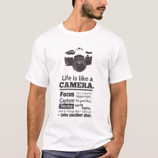 Chic Life is like a camera quote, Black Grunge T-Shirt