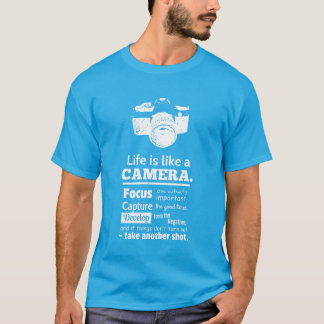 Chic Life is like a camera quote, White Grunge T-Shirt