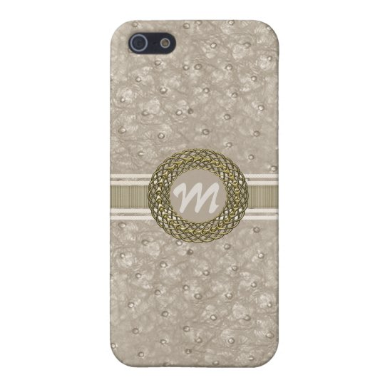 Chic Light Tan Ostrich Leather Look Monogram iPhone