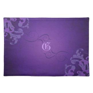 Chic Liliac Scroll Purple Monogram Placemats