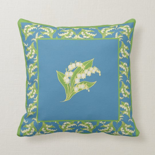 Chic Lily-of-the-Valley on Blue with Border Cushion
