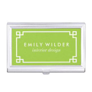 Chic Lime Green and White Greek Key Case For Business Cards