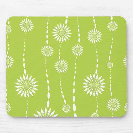 Chic Lime Green Floral Computer Mouse Mouse Mat