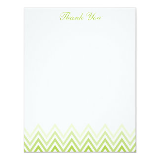 Chic Lime Green Ombre Chevrons Note Cards