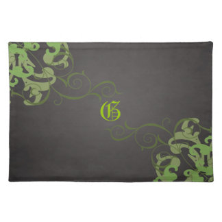 Chic Lime Scroll Black Monogram Placemats
