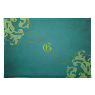 Chic Lime Scroll Teal Monogram Placemats