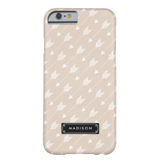 Chic Linen Beige Tribal Arrows Personalized Barely There iPhone 6 Case
