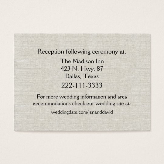 Chic Linen Look Wedding Enclosure Card