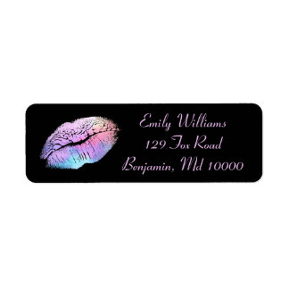 Chic Lips Cotton Candy and Gold Return Address Label