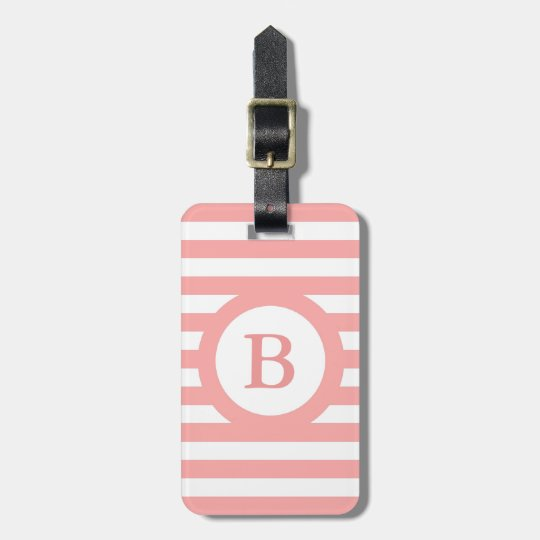 CHIC LUGGAGE/BAG TAG_04 PINK/WHITE STRIPES LUGGAGE TAG