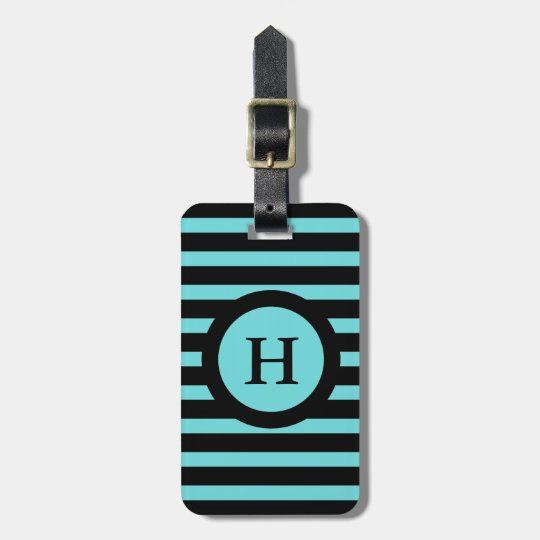 CHIC LUGGAGE/BAG TAG_133 AQUA/BLACK STRIPES LUGGAGE TAG