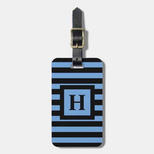 CHIC LUGGAGE/BAG TAG_153 BLUE/BLACK STRIPES LUGGAGE TAG