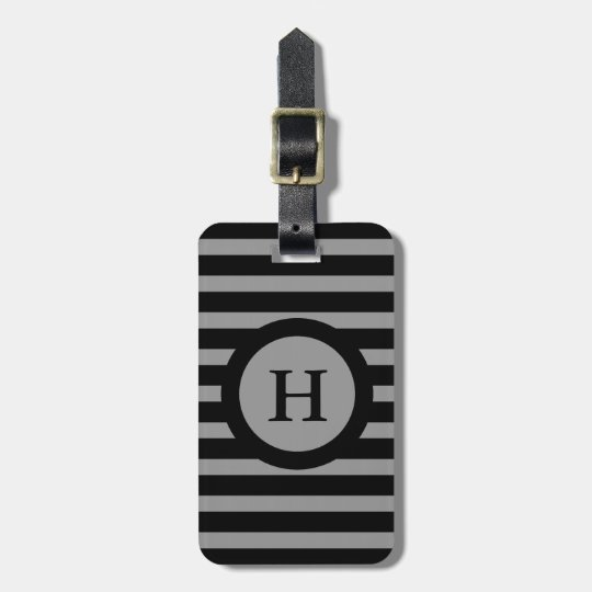 CHIC LUGGAGE/BAG TAG_252 GRAY/BLACK STRIPES LUGGAGE TAG