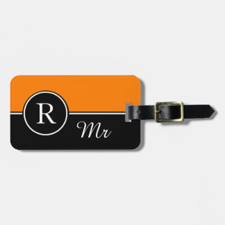 "CHIC LUGGAGE/BAG TAG_MODERN ""Mr"" 32 ORANGE/BLACK Luggage Tag"