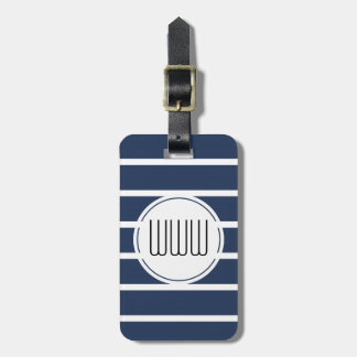 CHIC LUGGAGE TAG_435 NAVY/WHITE STRIPES LUGGAGE TAG