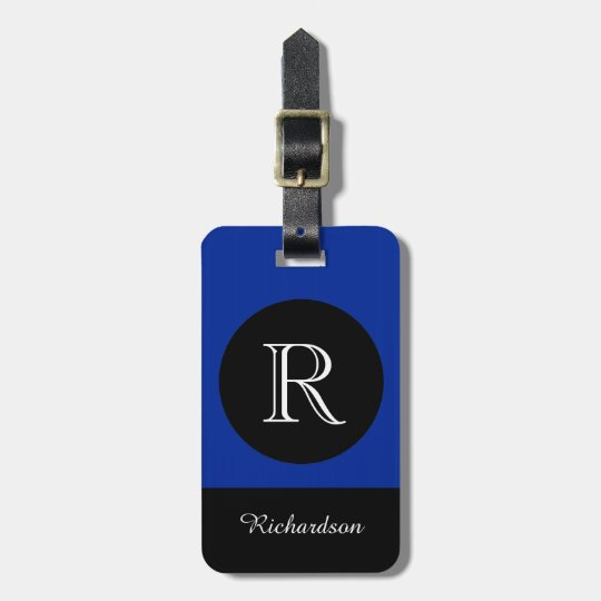 CHIC LUGGAGE TAG_BLACK/BLUE/WHITE INITIAL/NAME LUGGAGE TAG