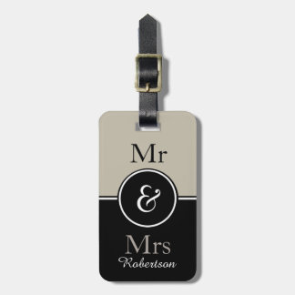 "CHIC LUGGAGE TAG_MODERN ""Mr & Mrs"" MUSHROOM/BLACK Luggage Tag"