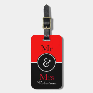 "CHIC LUGGAGE TAG_MODERN ""Mr & Mrs"" RED/BLACK Luggage Tag"